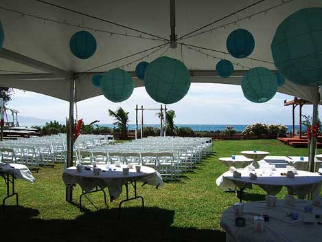View from the wedding tent across Paia's Garden to the ocean