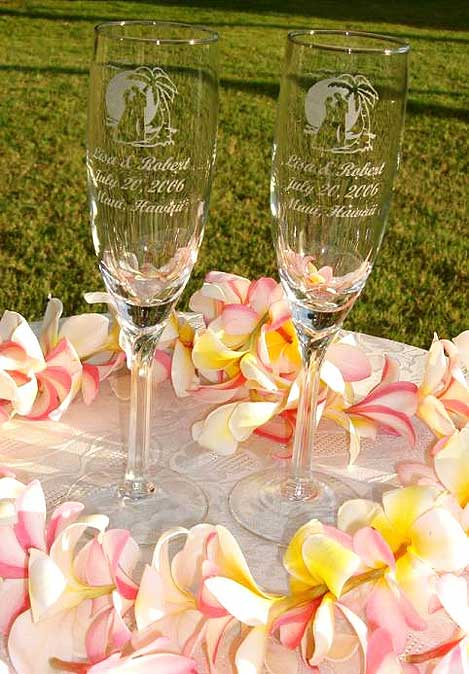 Engraved wedding champagne flutes by West Maui Engraving