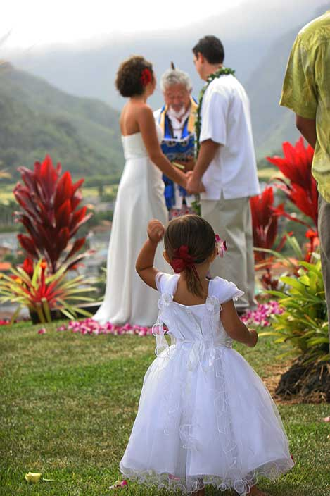 Flower girl at a wedding on Maui