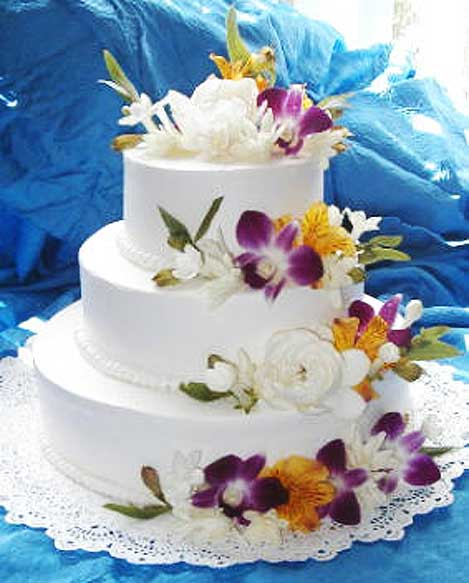 purple orchid cake by maui wedding cakes