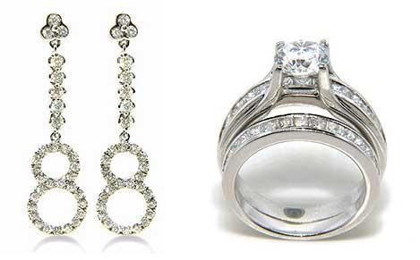 Diamond 88 Earrings Ring By Aoa